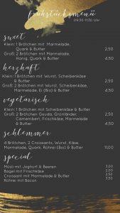 Frühstückskarte Coffeebar Siegen